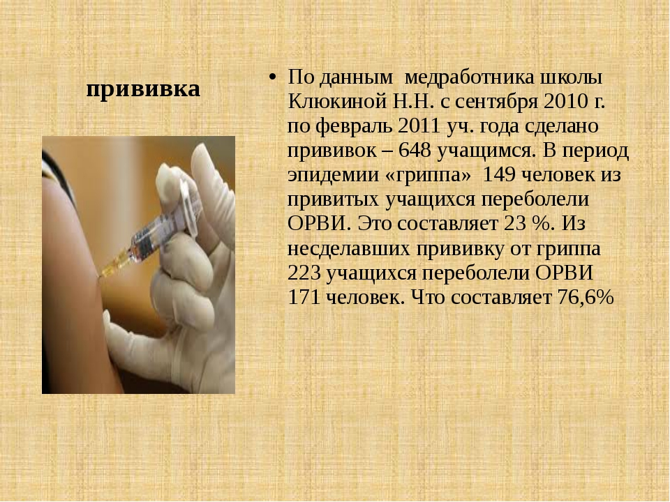 прививка По данным медработника школы Клюкиной Н.Н. с сентября 2010 г. по фев...