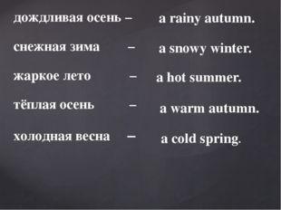 дождливая осень – снежная зима – жаркое лето – тёплая осень – холодная весна