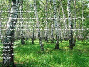 Список использованной литературы : 1.С.А. Есенин. Стихотворения. Поэмы. М.: и
