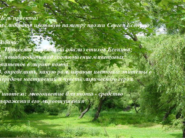 Цель проекта: исследовать цветовую палитру поэзии Сергея Есенина Задачи: 1. П...