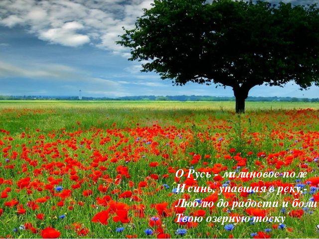 О Русь - малиновое поле И синь, упавшая в реку,- Люблю до радости и боли Твою...