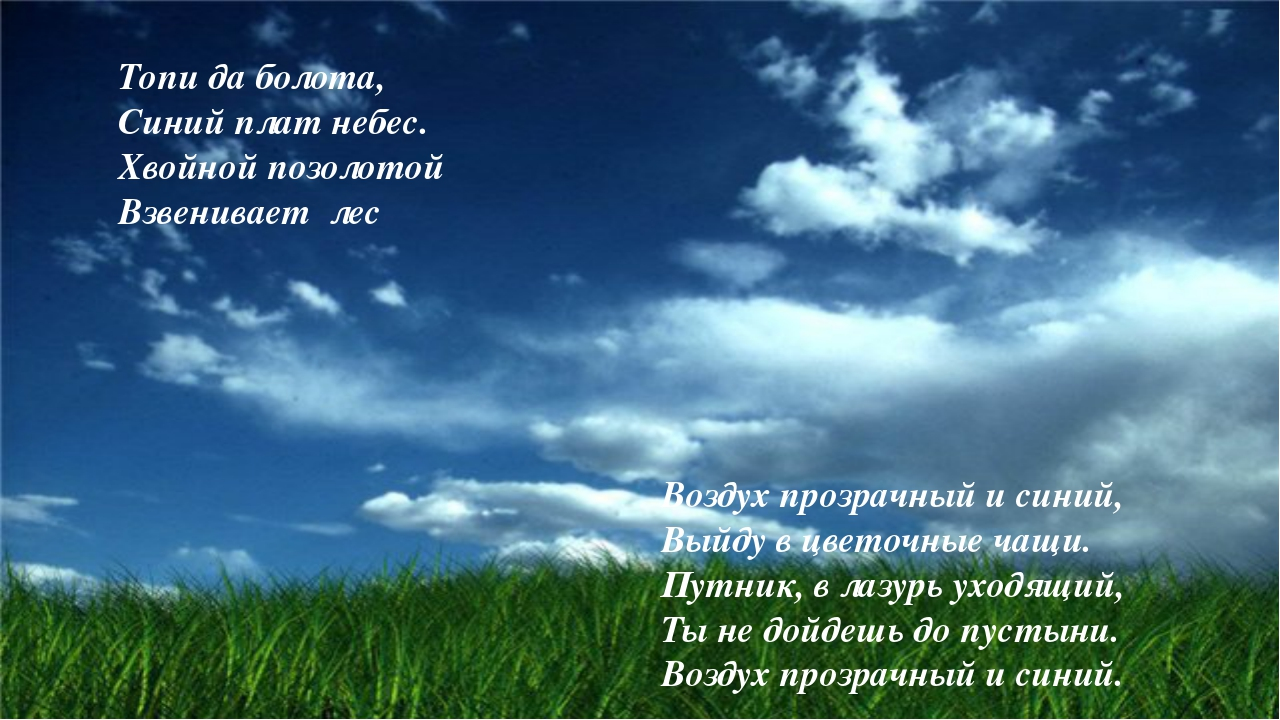 Топи да болота, Синий плат небес. Хвойной позолотой Взвенивает лес Воздух про...