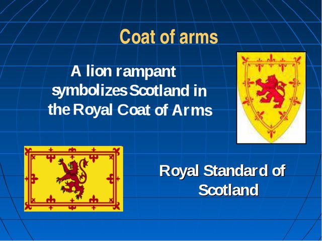 Coat of arms A lion rampant symbolizes Scotland in the Royal Coat of Arms Ro...