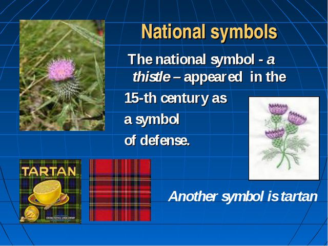 National symbols  The national symbol - a thistle – appeared in the 15-th ce...