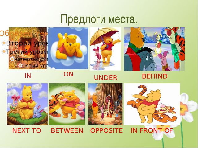 Предлоги места. IN ON UNDER BEHIND NEXT TO BETWEEN OPPOSITE IN FRONT OF