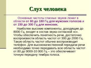 Слух человека Основные частоты гласных звуков лежат в области от 80 до 180 Гц