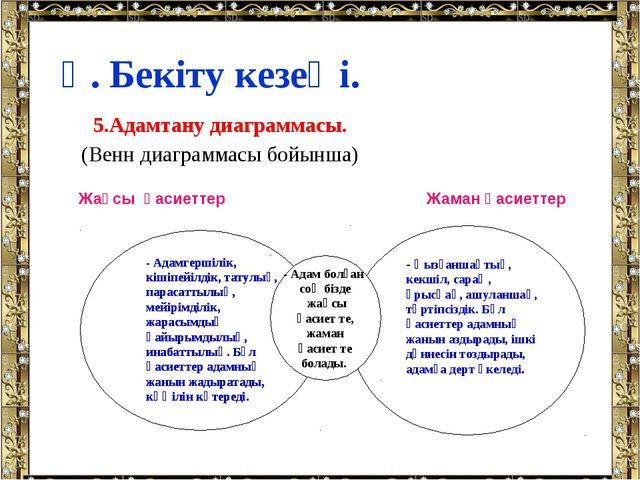 5.Адамтану диаграммасы. (Венн диаграммасы бойынша) Ү. Бекіту кезеңі. -Адам...