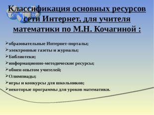 Классификация основных ресурсов сети Интернет, для учителя математики по М.Н.