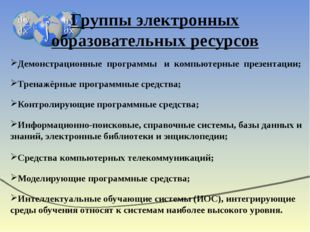 Группы электронных образовательных ресурсов Демонстрационные программы и комп
