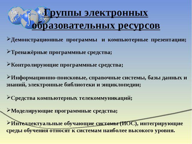 Группы электронных образовательных ресурсов Демонстрационные программы и комп...