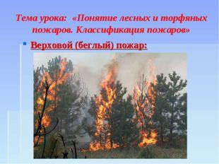 Тема урока: «Понятие лесных и торфяных пожаров. Классификация пожаров» Верхо