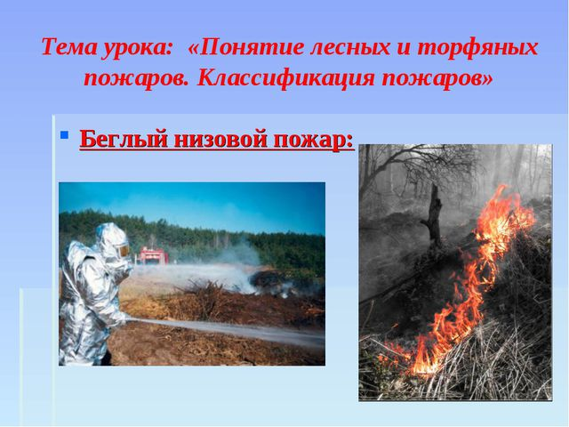 Тема урока: «Понятие лесных и торфяных пожаров. Классификация пожаров» Беглы...