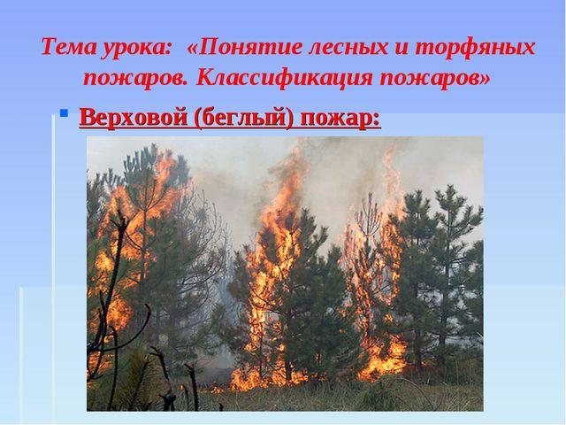 Тема урока: «Понятие лесных и торфяных пожаров. Классификация пожаров» Верхо...