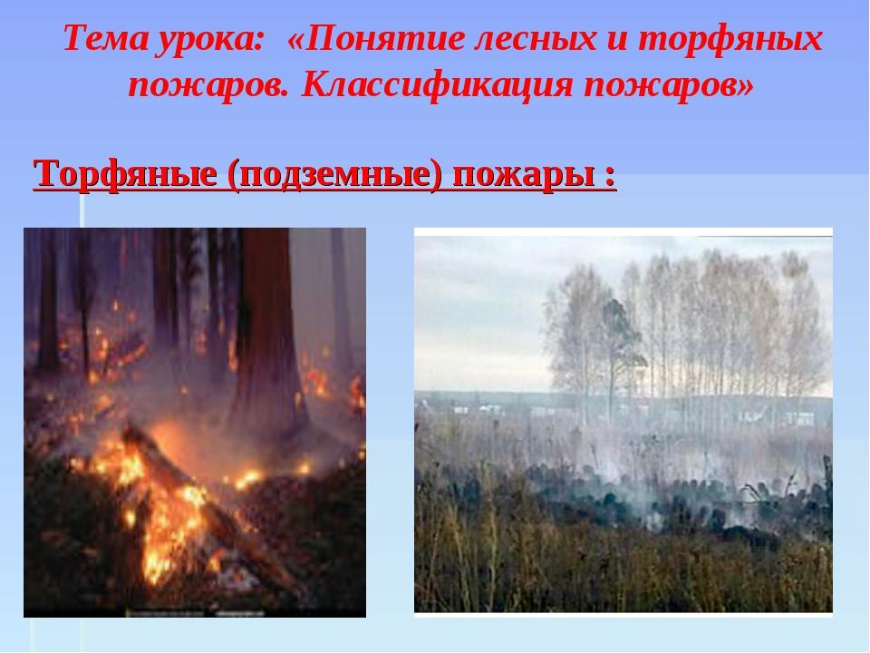 Тема урока: «Понятие лесных и торфяных пожаров. Классификация пожаров» Торфя...