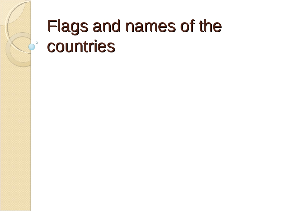 Flags and names of the countries