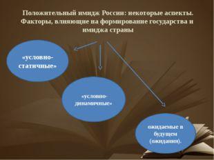 Положительный имидж России: некоторые аспекты. Факторы, влияющие на формирова