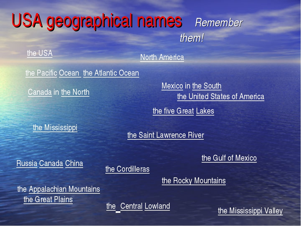 USA geographical names Remember them! the United States of America the Saint...