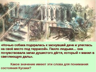 «Ночью собака подкралась к заснувшей даче и улеглась на своё место под террас