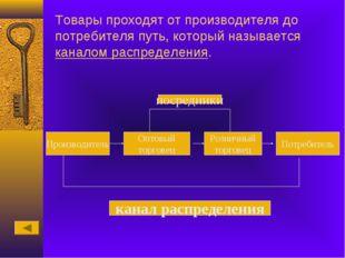 Товары проходят от производителя до потребителя путь, который называется кана
