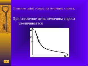 Влияние цены товара на величину спроса. При снижение цены величина спроса уве