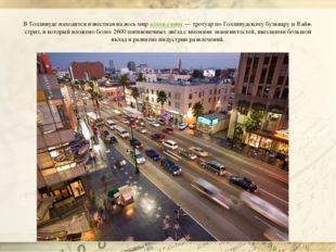 В Голливуде находится известная на весь мираллея славы— тротуар по Голливуд