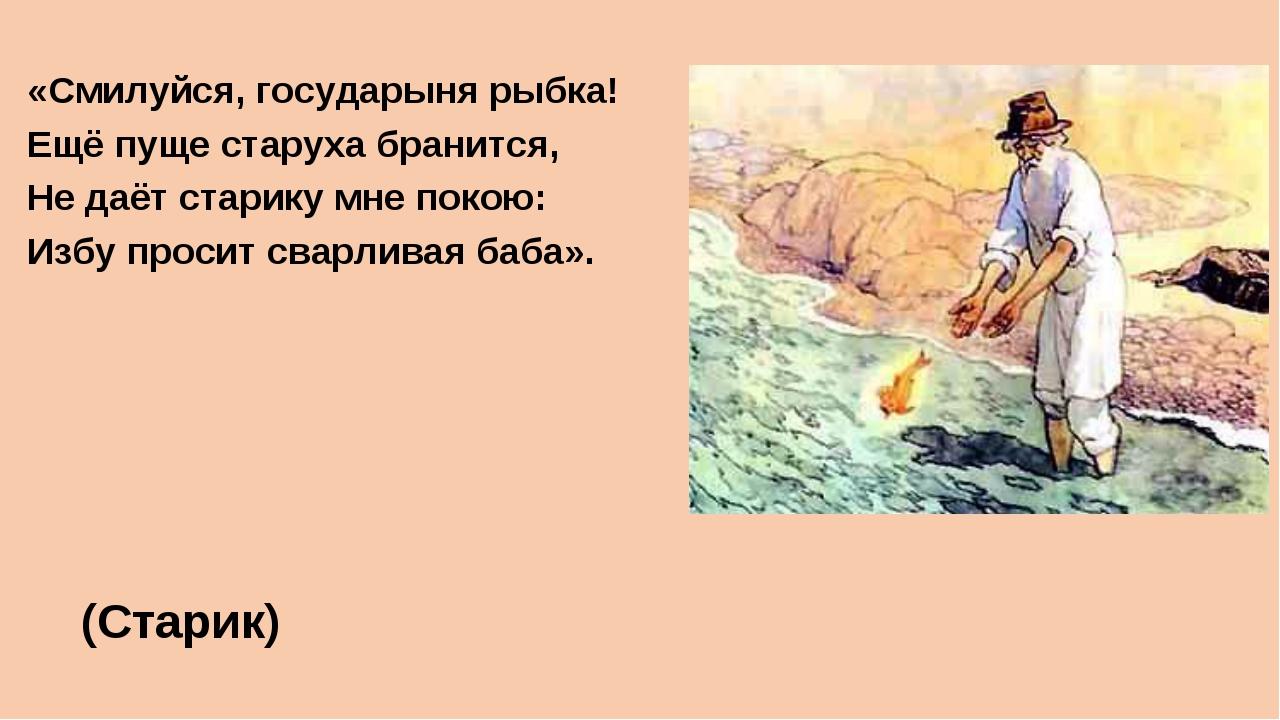 «Смилуйся, государыня рыбка! Ещё пуще старуха бранится, Не даёт старику мне п...