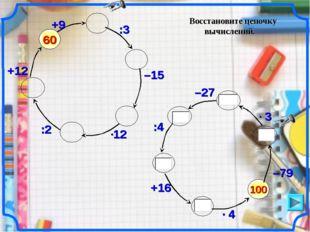 Восстановите цепочку вычислений. 100 –79 60 +9 :3 –15 :2 +12 –27 :4 +16