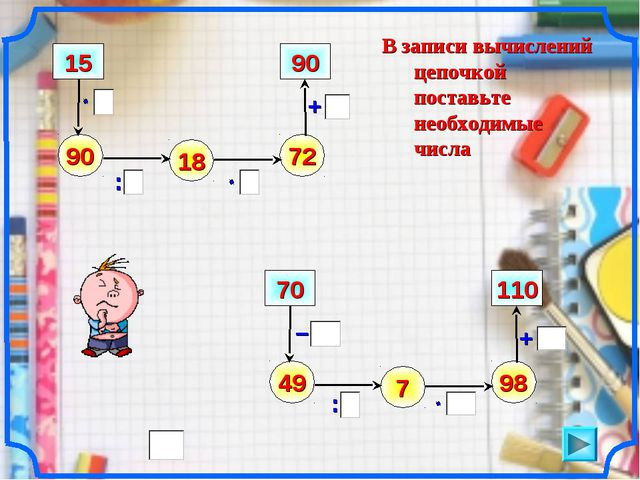 В записи вычислений цепочкой поставьте необходимые числа – 90 : + 15 18 72 90...