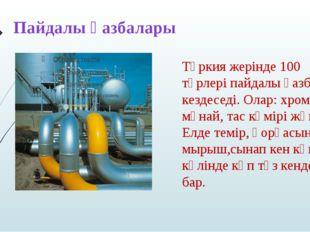 Түркия жерінде 100 түрлері пайдалы қазбалар кездеседі. Олар: хром, мұнай, тас
