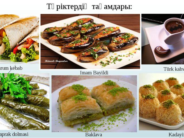 Түріктердің тағамдары: Durum kebab Imam Bayildi Türk kahvesi Yaprak dolmasi B...