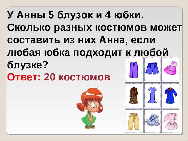 У Анны 5 блузок и 4 юбки. Сколько разных костюмов может составить из них Анна...