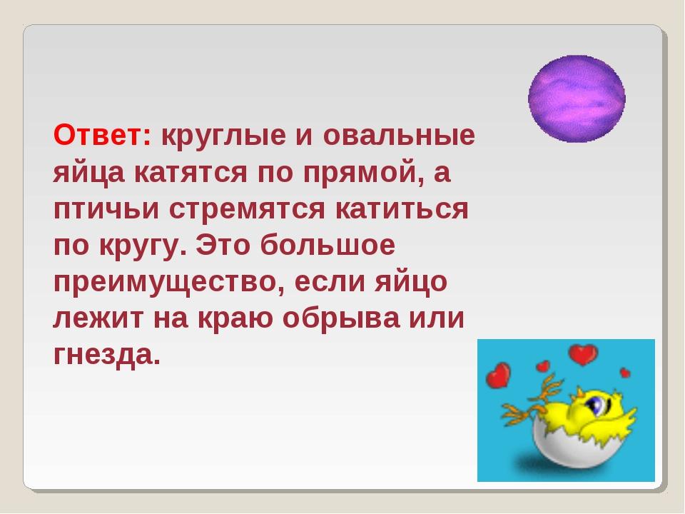 Ответ: круглые и овальные яйца катятся по прямой, а птичьи стремятся катиться...