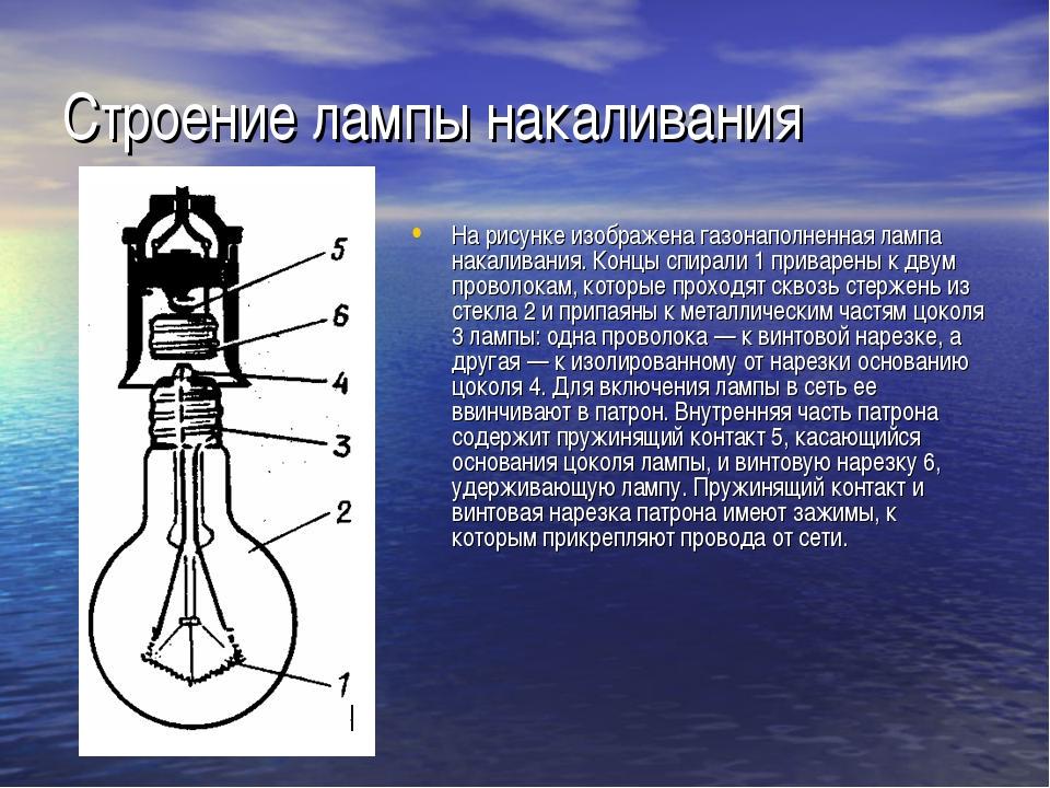 Строение лампы накаливания На рисунке изображена газонаполненная лампа накали...