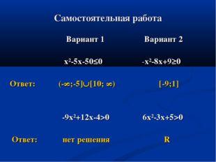 Самостоятельная работа Вариант 1 Вариант 2 х²-5х-50≤0 -х²-8х+9≥0 Ответ: (-∞;-