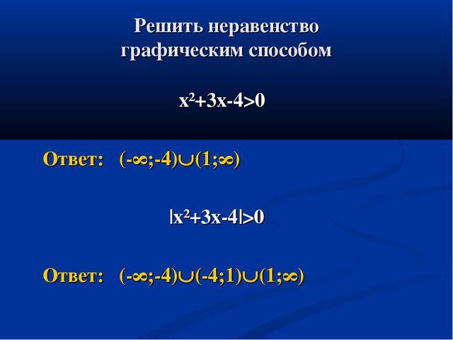 Решить неравенство графическим способом х²+3х-4>0 Ответ: (-∞;-4)(1;∞) |х²+3х...