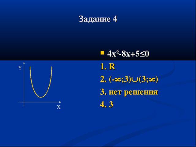 Задание 4 4х²-8х+5≤0 1. R 2. (-∞;3)(3;∞) 3. нет решения 4. 3 Y X