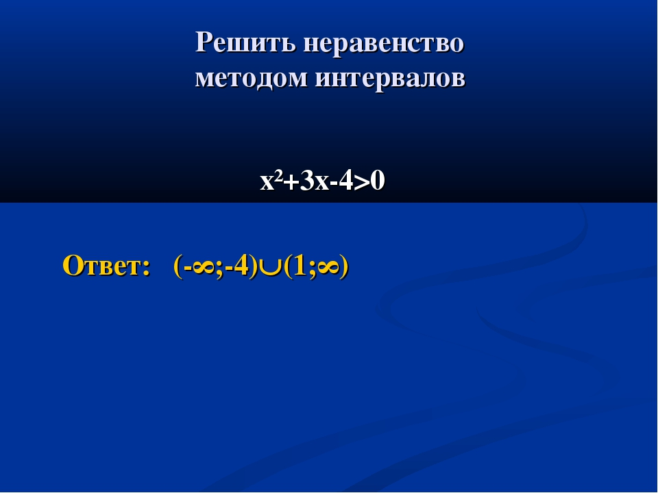 Решить неравенство методом интервалов х²+3х-4>0 Ответ: (-∞;-4)(1;∞)