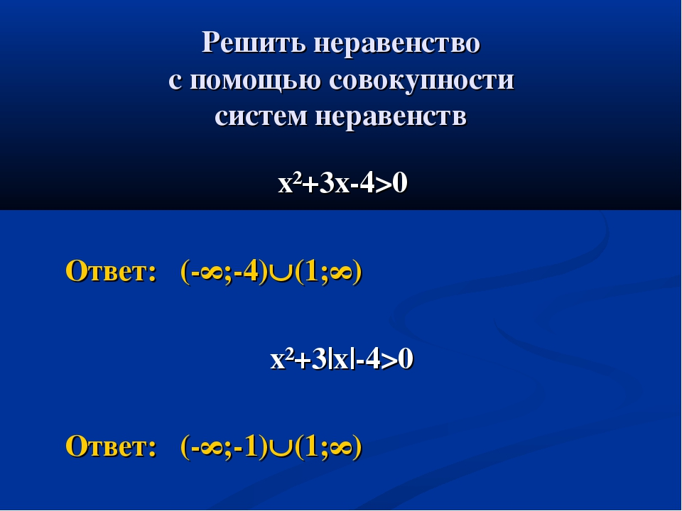 Решить неравенство с помощью совокупности систем неравенств х²+3х-4>0 Ответ:...