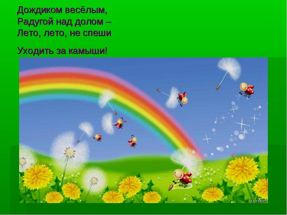 Дождиком весёлым, Радугой над долом – Лето, лето, не спеши Уходить за камыши!...