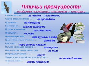 Птичьи премудрости продолжи пословицы, связанные с птицами Слово не воробей,