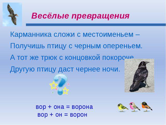 Весёлые превращения Карманника сложи с местоименьем – Получишь птицу с черным...