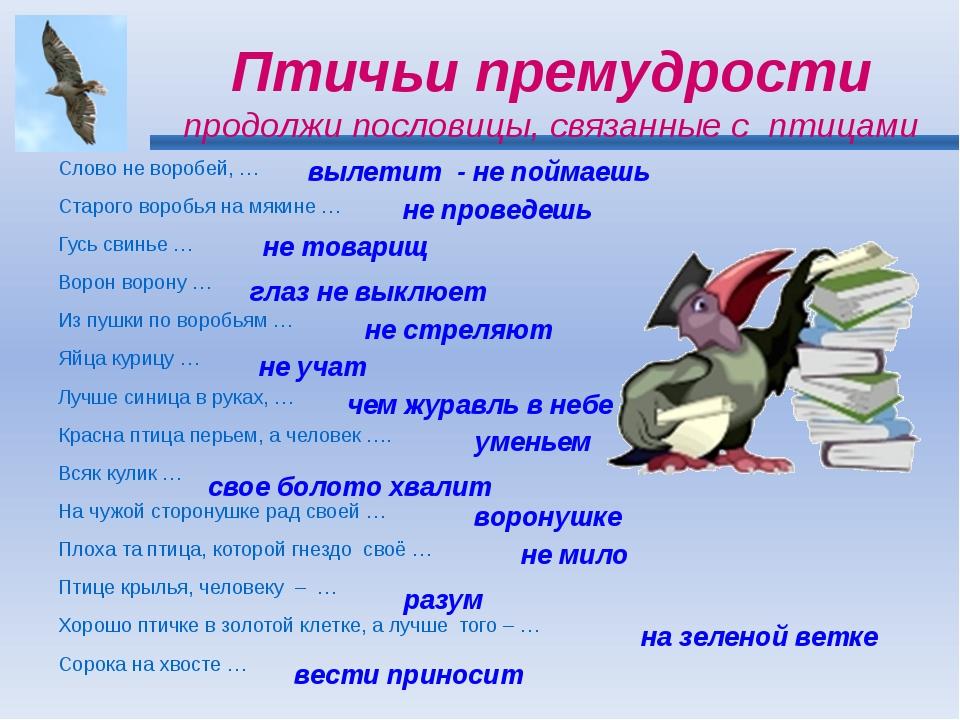 Птичьи премудрости продолжи пословицы, связанные с птицами Слово не воробей,...