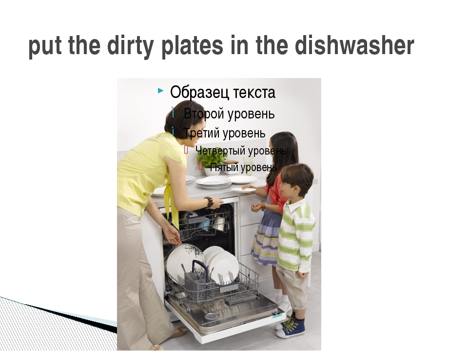 put the dirty plates in the dishwasher