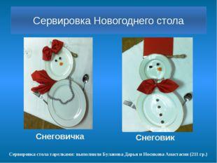 Сервировка Новогоднего стола Снеговик Сервировка стола тарелками: выполнили Б