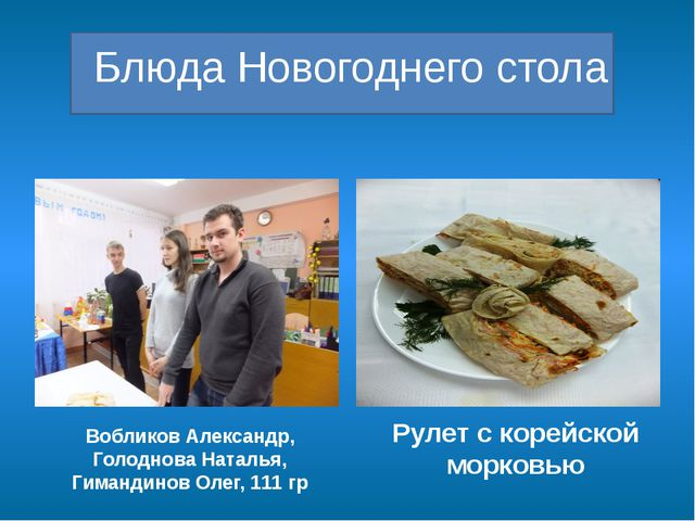 Блюда Новогоднего стола Вобликов Александр, Голоднова Наталья, Гимандинов Ол...