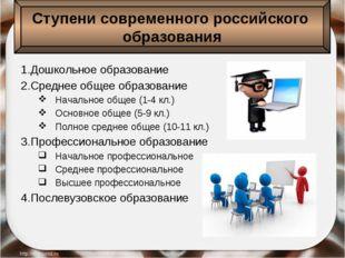 1.Дошкольное образование 2.Среднее общее образование Начальное общее (1-4 кл