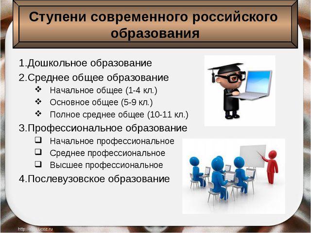 1.Дошкольное образование 2.Среднее общее образование Начальное общее (1-4 кл...