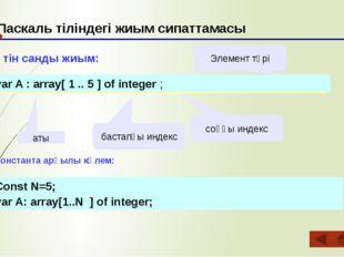 Паскаль тіліндегі жиым сипаттамасы бүтін санды жиым: аты бастапқы индекс соң