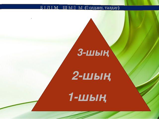 Б І Л І М Ш Ы Ң Ы (қолдану, талдау) 1-шың 2-шың 3-шың