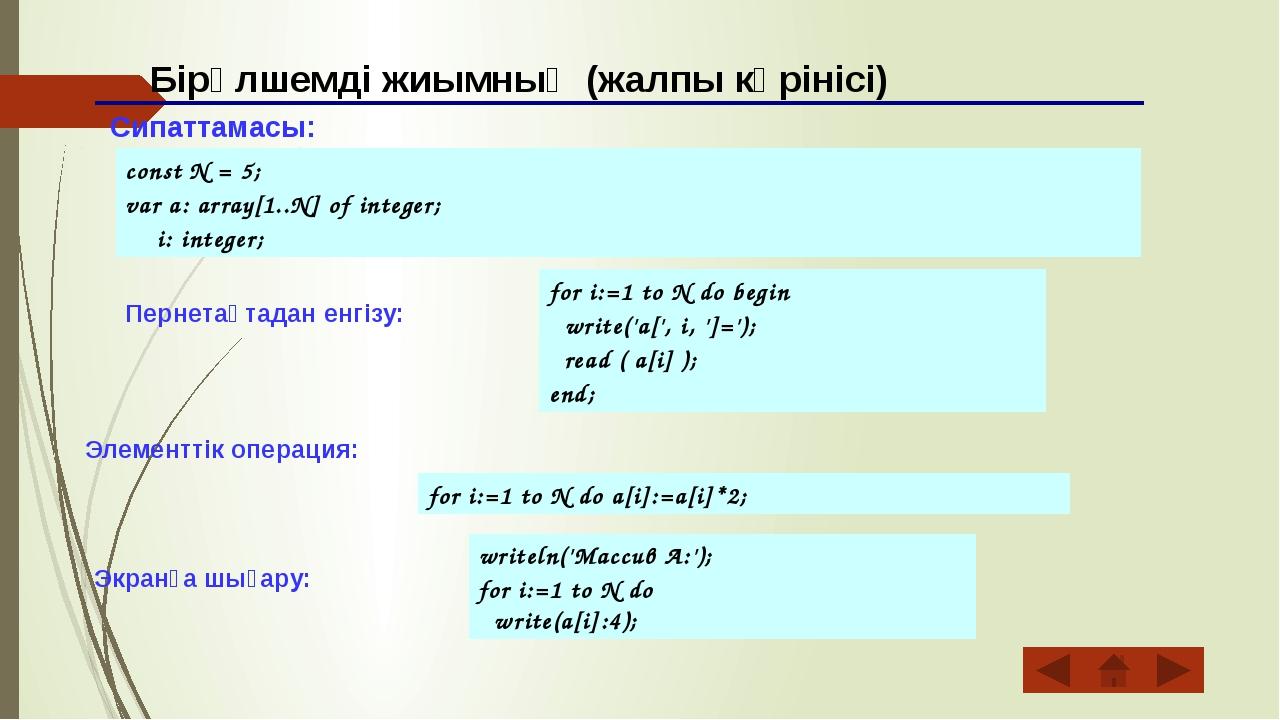 Бірөлшемді жиымның (жалпы көрінісі) Сипаттамасы: const N = 5; var a: array[1...